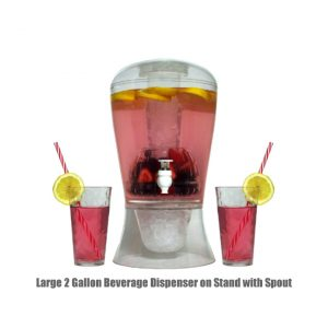 Large 2 Gallon Beverage Dispenser on Stand with Spout